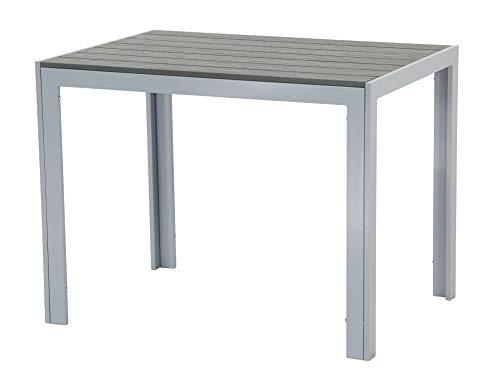 Pure Home & Garden Aluminium Gartentisch Fire Oblong mit Polywood Tischplatte, 100x70 cm absolut wetterfest, Silber aus dem Hause