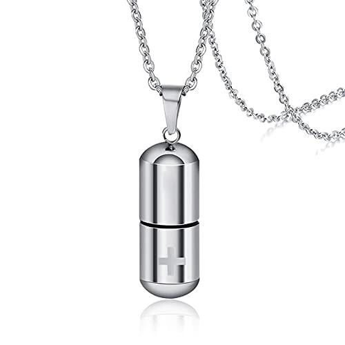 SUSHANCANGLONG Collar de urn de Pastilla para Cenizas Cementación Memorial Mantiene joyería Regalo (Color : S-Silver, Size : 60cm)