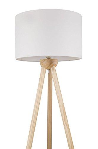 Staande lamp met stoffen kap in wit vloerlamp staande lamp houten driepoot (textiel lampenkap 40 cm, hoogte 1,45 m, kabel 1,8 m, fitting E27)