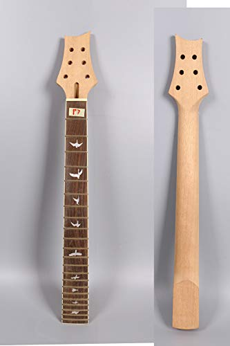 Yinfente - Reemplazo de cuello de guitarra eléctrica de 22 trastes de 25 pulgadas de palisandro con incrustaciones de pájaros