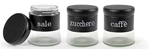 Vetrineinrete® Tris barattoli in vetro tondi con tappo per caffè sale zucchero contenitore 400ml 3 pezzi vari colori X57 (Nero)