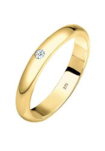 Elli PREMIUM Ring Damen Ehering Solitär mit Diamant (0.03 ct.) in 375 Gelbgold