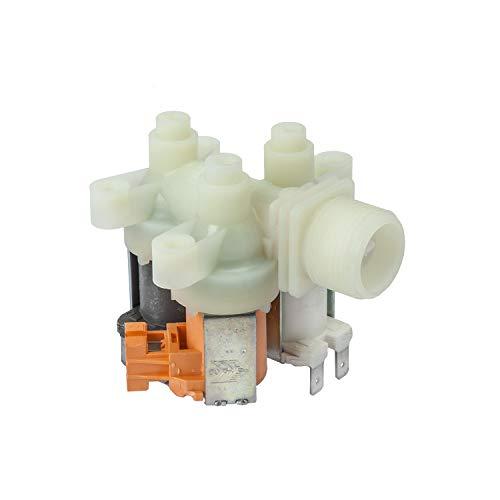MIRTUX Electroválvula Universal 3 Vías de entrada, Salida 90º, 220V, para Lavadoras, Lavavajillas AEG, Zanussi, Electrolux, LG (ver modelos compatibles).