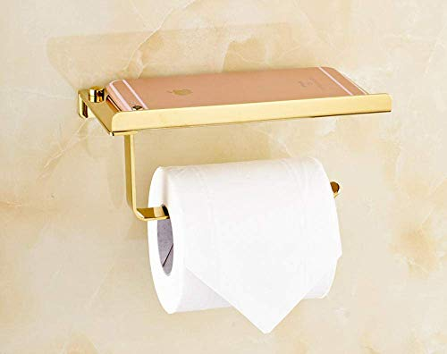 CHUNSHENN Wall-mounted Rack Stainless Steel Bathroom Paper Phone Holder with Shelf Bathroom Cell Phones Gold Towel Rack Toilet Paper Holder Tissue Boxes Convenience Goods