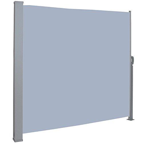 MCTECH® Seitenmarkise Zertifiziert Sonnenschutz Sichtschutz Windschutz Terrasse Markise Polyester (1.8 * 3m, Grau)