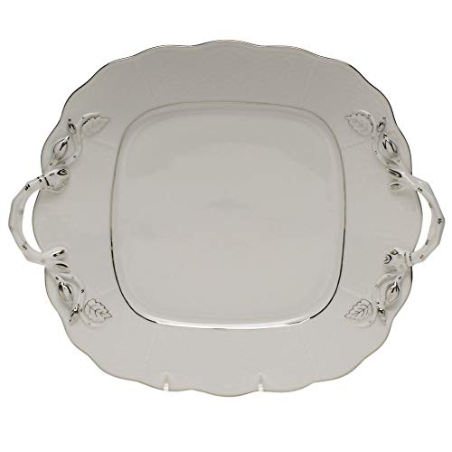 Herend Platinum Edge Square Porcelain Cake Plate