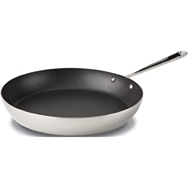 All-Clad 4113 NS R2 Stainless Steel Tri-Ply Bonded Dishwasher Safe PFOA-free Nonstick French Skillet/Cookware, 13-Inch, Silver