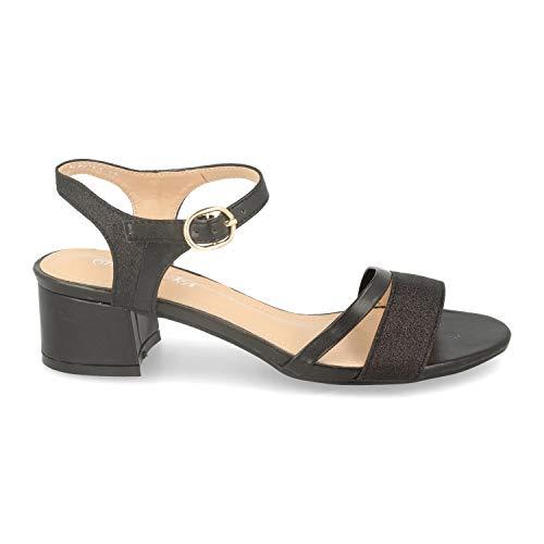 Sandalia de Vestir para Mujer con Tacon Ancho, Tiras Brillantes en la Pala y el Tobillo y Ankle Strap con Hebilla. Primavera Verano 2020.