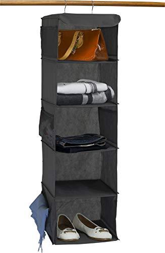 Simple Houseware 5 Shelves Hanging Closet Organizer, Dark Gray