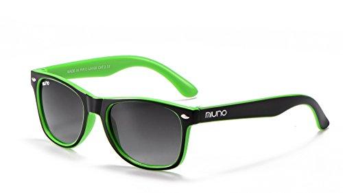Miuno® - Occhiali da sole polarizzati Dual-Polarized per bambini, mod. Wayfare, con Custodia, rif. 6833A nero / verde