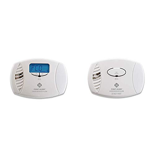 First Alert Dual-Power Carbon Monoxide Detector Alarm | Plug-in with Battery Backup and Digital Display, CO615 & Alert CO400 Carbon Monoxide Detector, White, Pack of 1
