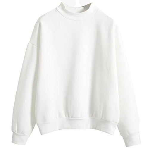 KINDOYO Femme Tops à Manches Longues Rayé Encapuchonné Shirt Sweats à Chemisiers - Blanc
