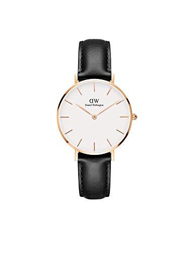 Daniel Wellington Petite Sheffield, Schwarz/Roségold Uhr, 32mm, Leder, für Damen
