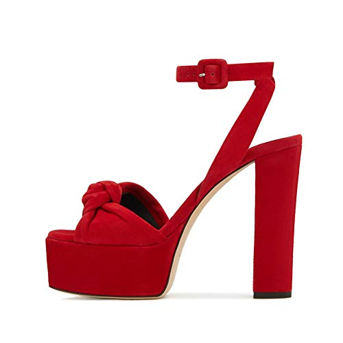 Sandalias de Tacón Cuadrado Plataforma para Mujer, MWOOOK-2241 Moda Mujer Slingback Sandalias De Tacón Alto con Bowknot Peep Toe Zapatos de Fiesta,Rojo,44 EU