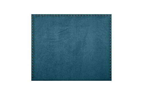 Cabecero de Cama Modelo CASTIZO tapizado en Tela Nido y con Tachuelas en Color Cobre. Altura 120cm. Color Azul. para Cama de 150 (Medidas 160x120x8) Pro Elite.