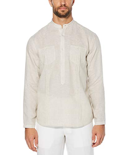 Cubavera Men's Long Sleeve 100% Tunic-Style Shirt with Pockets and Pleats, Natural Linen, Extra Large