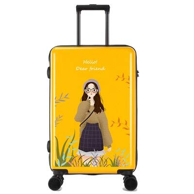 Mdsfe Personality cute trolley suitcase women men travel rolling luggage spinner carry on Korean version password trolley box - Yellow-E, 24'