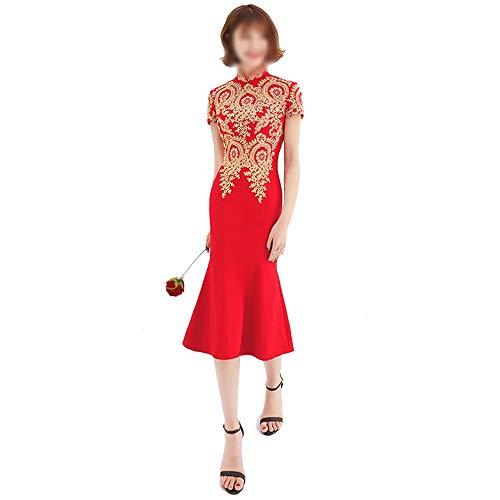 ZSRHH-Kleid Frauenkleid Rock mit exquisiten Stickerei Womens chinesischen roten Cheongsam Fishtail Brautkleid (Farbe : Weinrot, Size : S)