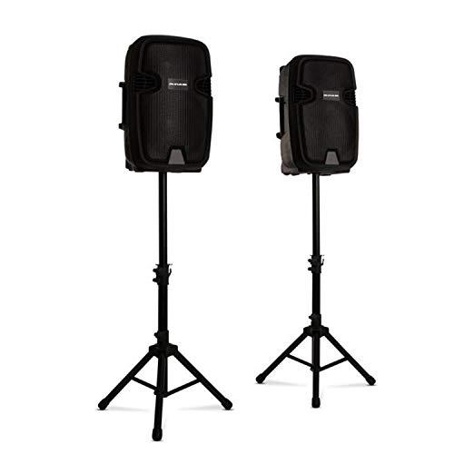 Malone auna Pro Combo 1 - Juego de Altavoces de PA, Altavoces de Dos vías, Bluetooth, 30 cm, Activo y pasivo, 700 W, Incluye 2 Soportes para Altavoces, Negro