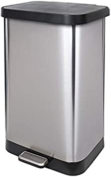 Glad Stainless Steel Step Trash Can with Clorox Odor Protection, 20 Gallon