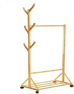 ハンガーラック ナチュラル 木製 衣類収納 キャスター付き 幅80 幅60 高さ171cm (幅80)