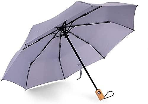 LZDD Paraguas pequeño y portátil para Refugio del vient Umberllas Plegable Paraguas Ligero 8 Hueso tripo Triple Apertura automática Agua Repelente Paraguas lluvioso Sombrilla (Color : Gray)