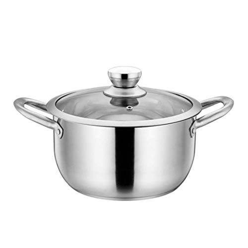 XBR Not Sticky Stainless Steel Broth Pot High Capacity Induction Thickened Non-Stick Cooking Pot Daily Cooking Double Handle Soup Pot Kitchen for Women Best Gift, 22cm