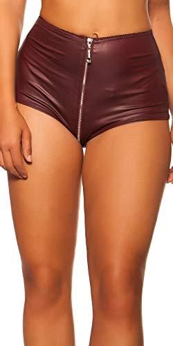 Koucla Damen Gogo Wetlook Shorts Hotpants mit 2 Way Zip (Bordeaux, XL)
