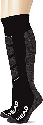 HEAD Unisex-Adult V-Shape Kneehigh Ski (2 Pack) Skiing Socks, mid Grey/Black, 43/46 (2er Pack)