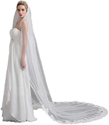 Passat Ivory 3M French Lace Wedding Veil Crystal Bride Veil Ivory Swarovski Rhinestone Lace product image