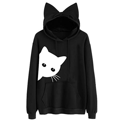 Buy Bargain Seaintheson Womens Cat Print Pullover,Thin Long Sleeve Hoodie Sweatshirt Hooded Pullover...