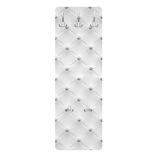 Bilderwelten Wandgarderobe Flur mit Haken Diamant Weiß 139 x 46 cm