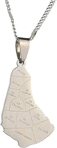 NONGYEYH co.,ltd Collar Collar Mapa de la Isla de Barbados Collar de Acero Inoxidable Collares Pendientes Mapas de Barbados Joyería con dijes