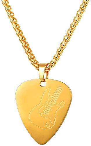 MNMXW Collar de púa de Guitarra de Acero Inoxidable Colgante de púa Amante de la música Regalo de músico para Guitarrista