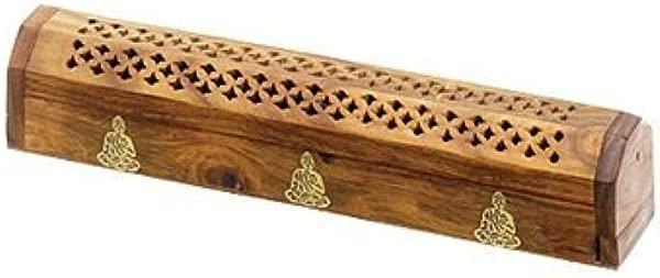 Wooden Coffin Incense Burner Buddha 12 Brass Inlays Storage Compartment