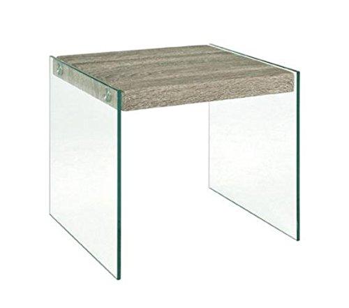 Haku 87795 Table d'appoint en verre de sécurité et plateau en chêne truffe