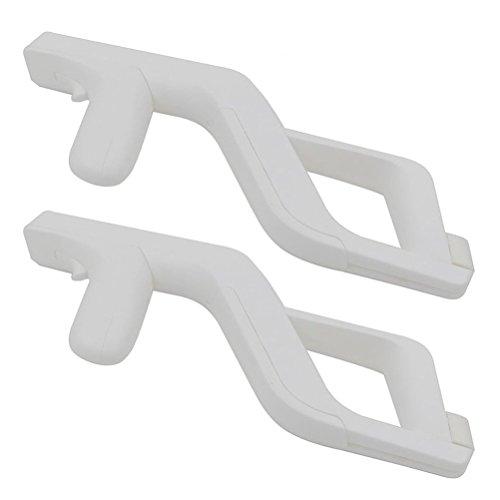 Heckia 2 x Zapper Pistole für Nitendo Wii Light Gun Fernbedienung und Nunchuck Controller für Wii-Spiele, Weiß