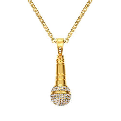 YAMAO Hombre Collar,Collar y Colgante de micrófono Rock Punk para Hombre/Mujer, Collar de Hip Hop de Piedra de Color Dorado de Acero Inoxidable