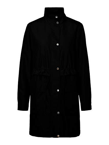 Vero Moda VMPERNILLEUNI 3/4 Jacket Gabardina, Negro, L para Mujer