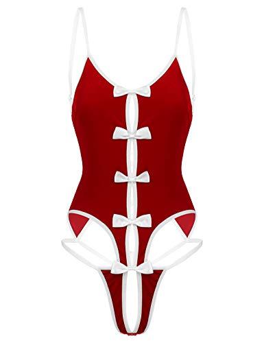 MSemis Santa Claus Kostüm Damen Einteiler Body Overall Weihnachten Dessou sexy Stringbody Jumpsuit Ouvert Body Babydoll Nachtwäsche Rot L