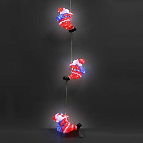 Deuba Tres Papá Noel LED adorno de Navidad de acrilico figura decorativa iluminación decoración interior exterior cable