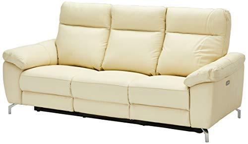Ibbe Design Creme Leder 3er Sitzer Relaxsofa Couch mit Elektrisch Verstellbar Relaxfunktion Heimkino Sofa Doha mit Fussteil, Federkern, 222x96x101 cm