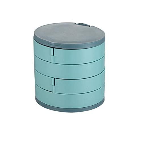 JTKJ Schmuckkästchen, Aufbewahrungsbox mit rotierender mehrschichtiger Aufbewahrungsbox, staubdicht, kompakt und leicht zu tragen, blau