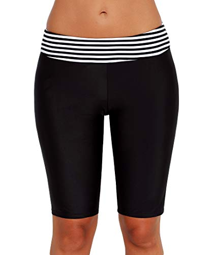LAUSONS Damen Badeshorts Lang Badehose UV Schutz Shorts Gestreift Schwimmshorts Wassersport Boardshorts Knielang Schwarz EU 34-36 / Etikette S