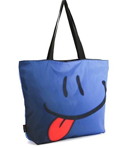 ICOLOR Blue Smiling Face Gym Bag Tote Bags Shoulder Bag Beach Bag with Zipper for Men Women,Reusable Gym Picnic Travel Beach Shopping Work Daily Use Shoppers Tote(GymBag-01)
