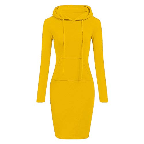 BODOAO Womens Long Sleeve Hooded Dress Casual Long Sweatshirt t Shirt Dress