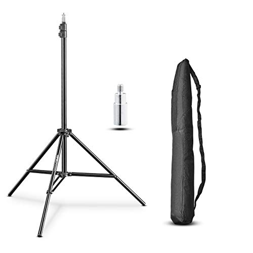 Walimex pro WT-803 Lampenstativ 208cm - kompaktes leichtes Lichtstativ aus Aluminium, Höhe max. 208 cm Traglast 3,5 kg für Fotografie Studio Mobil Video Blitz Softbox Ringlicht, mit Tasche + Adapter
