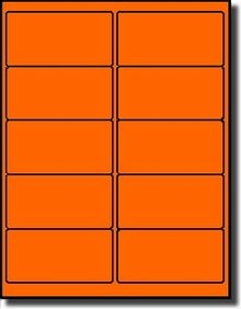 """200 Label Outfitters 4"""" x 2"""" Fluorescent Neon Orange Laser Printer Labels - 20 Sheets"""