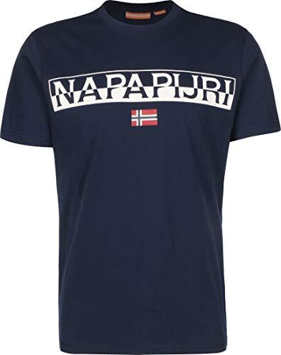 Napapijri - T-Shirt Uomo in Jersey Blu Navy con Logo a Contrasto - Taglia L