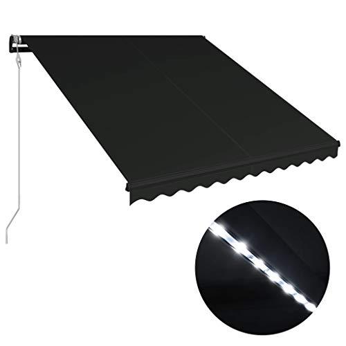 vidaXL Markise Einziehbar mit Windsensor LED Sonnenschutz Sichtschutz Gelenkarmmarkise Sonnenmarkise Terrasse Balkon Garten 300x250cm Anthrazit Aluminiumrahmen